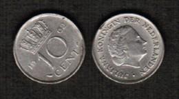 NETHERLANDS  10 CENTS 1962 (KM # 182) #5487 - 1948-1980 : Juliana