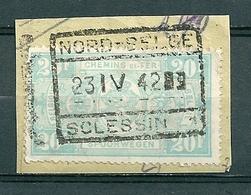 TR 256 Gestempeld Op Fragment NORD BELGE - SCLESSIN 1 - Bahnwesen