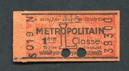 """Ticket De Métro Parisien """"Métropolitain 1ère Classe"""" 1946/1947 - Paris RATP - Europe"""
