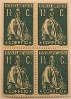"POR#4950-Block Of 4 MNH Stamps Of 1 1/2 Centavos - ""CERES"" - Portugal - 1917 - Blocchi & Foglietti"