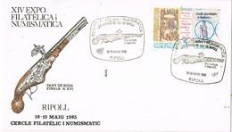 35686. Carta RIPOLL (Gerona) 1985. PISTOLA, Pany De Roda, Armas De Fuego De Ripoll. Militaria - 1931-Hoy: 2ª República - ... Juan Carlos I