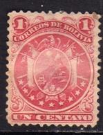BOLIVIA  1890 COAT OF ARMS STEMMA ARMOIRIES PERF 12 CENT. 1c MH - Bolivia