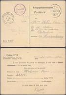 """Poskarte """"Kriegsgefangenenpost"""" Expédié Du Stalag IV B + Cachet De Passage """"Prisonnier De Guerre / Paris"""" Vers Athus. - Guerre 40-45"""