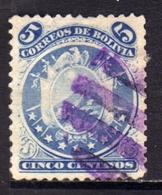 BOLIVIA  1890 COAT OF ARMS STEMMA ARMOIRIES PERF 12 CENT. 5c USATO USED OBLITERE' - Bolivia