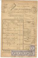TAXE 10C VIOLET RECOUVREMENTS X6 LE GUA ISERE 26.8.1926 SUR BORDEREAU DES VALEURS - Marcophilie (Lettres)