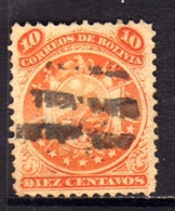 BOLIVIA  1890 COAT OF ARMS STEMMA ARMOIRIES PERF 12 CENT. 10c USATO USED OBLITERE' - Bolivia