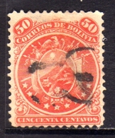 BOLIVIA  1890 COAT OF ARMS STEMMA ARMOIRIES PERF 12 CENT. 50c USATO USED OBLITERE' - Bolivia