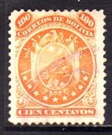 BOLIVIA  1890 COAT OF ARMS STEMMA ARMOIRIES PERF 12 CENT. 100c USATO USED OBLITERE' - Bolivia