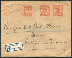 1931 GB London Registered Franking Machine / Metermark Credit Lyonnais Cover - Banque De Indo Chine, Hanoi Tonkin - 1902-1951 (Könige)