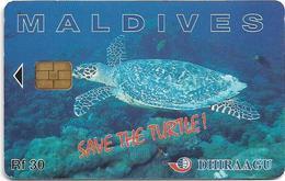 Maldives - Dhiraagu (chip) - Save The Turtle! - 2MLDGIA - Chip Siemens S37, 30MRf, Used - Maldivas