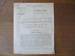 ETAT FRANCAIS LILLE LE 2 JUILLET  1943 LE PREFET DU NORD F.CARLES ARRÊTE PROTECTION DES RECOLTES CONTRE L'INCENDIE - Historische Dokumente