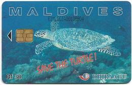 Maldives - Dhiraagu (chip) - Save The Turtle! - 61MLDGIA - Chip Siemens S30, 30MRf, Used - Maldivas