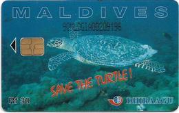 Maldives - Dhiraagu (chip) - Save The Turtle! - 90MLDGIA - Chip Siemens S30, 30MRf, Used - Maldivas