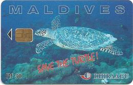Maldives - Dhiraagu (chip) - Save The Turtle! - 202MLDGIA - Chip Siemens S30, 30MRf, Used - Maldives