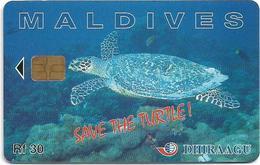 Maldives - Dhiraagu (chip) - Save The Turtle! - 227MLDGIA (CN At Bottom), Chip Siemens S30, 30MRf, Used - Maldives
