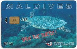 Maldives - Dhiraagu (chip) - Save The Turtle! - 256MLDGIB - Chip Siemens S30, 30MRf, Used - Maldivas