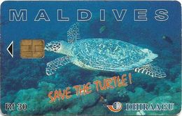 Maldives - Dhiraagu (chip) - Save The Turtle! - 335MLDGIB - Chip Siemens S37, 30MRf, Used - Maldivas