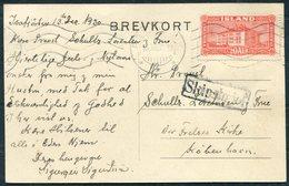 1930 Iceland Isafjordur Postcard, Reykjavik Machine Cancel - Copenhagen. Paquebot, Ship Letter, SKIPSBRIEF - Brieven En Documenten