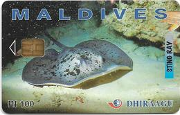 Maldives - Dhiraagu (chip) - Sting Ray - 2MLDGIC - Chip Siemens S37, 100MRf, Used - Maldivas