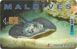 Maldives - Dhiraagu (chip) - Sting Ray - 335MLDGID - Chip Siemens S37, 100MRf, Used - Maldivas