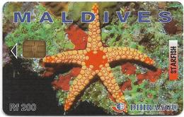 Maldives - Dhiraagu (chip) - Starfish - 2MLDGIJ - Chip Siemens S37, 200MRf, Used - Maldiven
