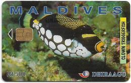 Maldives - Dhiraagu (chip) - Clown Triggerfish - 61MLDGIE - Chip Siemens S30, 500MRf, Used - Maldiven