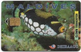 Maldives - Dhiraagu (chip) - Clown Triggerfish - 90MLDGIE - Chip Siemens S30, 500MRf, Used - Maldivas
