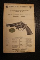 Manuel écrit Anglais - Revolver Smith & Wasson Springfield, Massachusett. A Bangor Punta Company - Etats-Unis