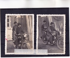 PHOTO - MOTO - 17 - SAINTES (Char Inf) - Portraits De 2 Femmes Sur Leur MOTO En 1937 - Nelly Et Marie - 9cm Sur 6 - Cycling