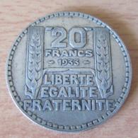 France - Monnaie 20 Francs TURIN 1933 Rameaux Courts En Argent - TTB+ - France