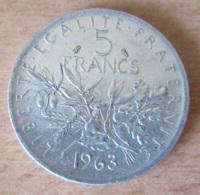 France - Monnaie 5 Francs Semeuse 1963 En Argent - SUP+ - France