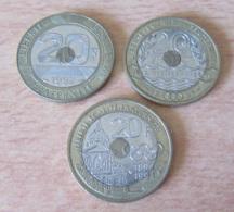 France - 3 Monnaies 20 Francs Mont St Michel 1992, Jeux Méditérannéens 1993 Et Pierre De Coubertin 1994 - France