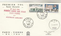 Premier Vol Sans Escale AUSTRIAN AIRLINES PARIS - VIENNE Autriche 1/4/1966 - Avions