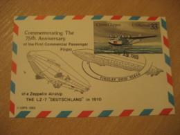 "FINDLAY 1985 The LZ-7 ""Deutschland"" First Com. Passenger Flight 75th Cancel Card USA Zeppelin Airship Dirigible Balloon - Zeppelins"