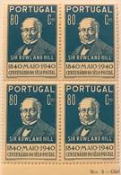 "POR#4838-Block Of 4 MNH Stamps Of 80 Centavos - ""1. Centenário Do Selo Postal - Sir Rowland Hill"" - Portugal - 1940 - Blocchi & Foglietti"