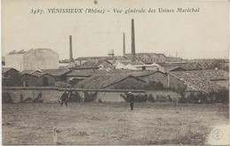 VENSSIEUX  CARTE VUE GENERALE USINES MARECHAL -CACHET VIOLET AU DOS 5 E REGIMENT D'ARTILLERIE -66 E BATTERIE -VENISSIEUX - Other Wars
