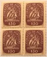 "POR#4820-Block Of 4 MNH Stamps Of 30 Centavos - ""Caravela"" - Portugal - 1943 - Blocchi & Foglietti"