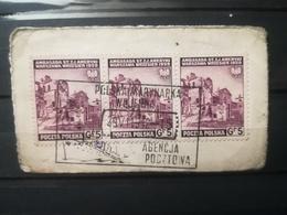 FRANCOBOLLI STAMPS POLONIA POLAND 1941 USED SU FRAMMENTO RUINS ANNULLO POCZTOWA POLSKA OBLITERE' FRAGMENT - Governo Generale