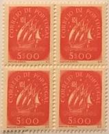 """POR#4813-Block Of 4 MNH Stamps Of 5 Escudos - """"Caravela"""" - Portugal - 1943 - Blocchi & Foglietti"""