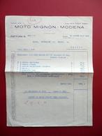 Fattura Moto Mignon Modena 14/8/1934 Riparazione Moto Mignon 175 - Vecchi Documenti