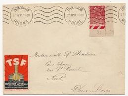 FRANCE - Enveloppe Depuis Lyon St Jean - 1931 - Vignette 8eme Salon De La TSF / Exposition Coloniale 1931 - Erinnophilie