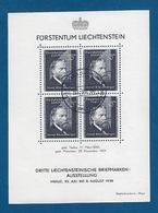 LIECHTENSTEIN - 1938 - BF OBLITERATO CON 4 VALORI - 3° ESPOSIZIONE FILATELICA DI VADUZ - IN OTTIME CONDIZIONI. - Blocchi & Fogli