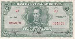 BILLETE DE BOLIVIA DE 5 BOLIVIANOS DEL AÑO 1928  SERIE G1 (SIN CIRCULAR - UNCIRCULATED)(BANKNOTE) - Bolivia