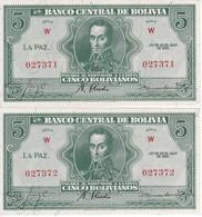 PAREJA CORRELATIVA DE BOLIVIA DE 5 BOLIVIANOS DEL AÑO 1928  SERIE W (SIN CIRCULAR - UNCIRCULATED)(BANKNOTE) - Bolivia