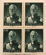 """POR#4777-Block Of 4 MNH Stamps Of 35 Centavos - """"Presidente Carmona"""" - Portugal - 1945 - Blocchi & Foglietti"""