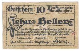Österreich Austria Notgeld 10 HELLER FS601Ia MAUTHAUSEN /144M/ - Autriche