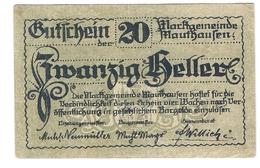Österreich Austria Notgeld 20 HELLER FS601Ia MAUTHAUSEN /144M/ - Autriche