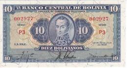 BILLETE DE BOLIVIA DE 10 BOLIVIANOS DEL AÑO 1928  SERIE P3 (SIN CIRCULAR - UNCIRCULATED) (BANKNOTE) - Bolivia