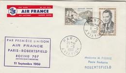 Première Liaison AIR FRANCE  Par Boeing  707 PARIS - ROBERTSFIELD 11/9/1960 - Avions