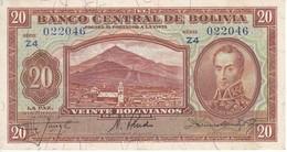 BILLETE DE BOLIVIA DE 20 BOLIVIANOS DEL AÑO 1928  SERIE Z4 EN CALIDAD EBC (XF) (BANKNOTE) - Bolivia